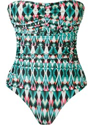 Lygia And Nanny Print Draped Swimsuit Green