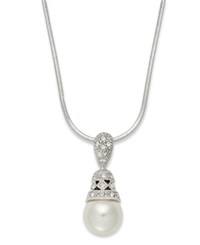 Eliot Danori Necklace Silver Tone Crystal And Simulated Pearl Pendant Necklace