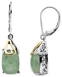 Macy's 14K Gold And Sterling Silver Earrings Jade Rectangle Drops 6 Ct. T.W.
