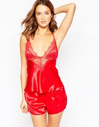 Ann Summers Red Silk And Lace Cami Pyjama Gift Set Red