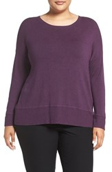 Eileen Fisher Plus Size Women's Scoop Neck Stretch Knit Top Deep Raisin