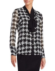 Karl Lagerfeld Patterned Tie Neck Blouse Black White
