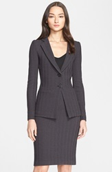 Armani Collezioni Herringbone Jersey Two Button Jacket Grey Black