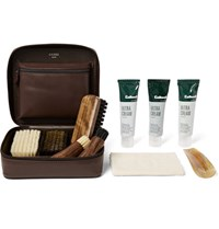 Cedes Milano Travel Shoe Care Set With Leather Case Dark Brown
