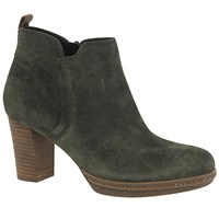 Gabor Tournament Wide Block Heeled Ankle Boots Green