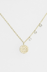 Meirat 'Dazzling' Diamond Disc Pendant Necklace Yellow Gold