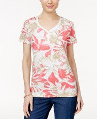 Karen Scott Petite Printed Henley T Shirt Only At Macy's Peony Coral