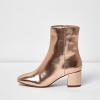 River Island Womens Rose Gold Block Heel Ankle Boot