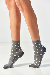 Out From Under Fuzzy Polka Dot Crew Sock Grey