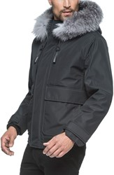 Andrew Marc New York Men's Imperial Genuine For Fur Trim And Shearling Lined Bomber Jacket