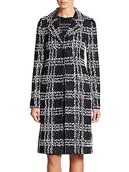 St. John Plaid Knit Coat Black White