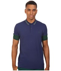 Fred Perry Panelled Sleeve Pique Shirt French Navy Men's Short Sleeve Knit
