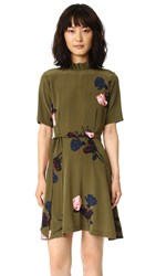 Ganni Donaldson Dress Dark Olive Roses