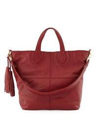 Isabella Fiore Maroquin Leather Tote Bag Garnet Red