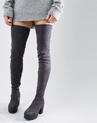 Truffle Collection Thigh High Chunky Boot Charcoal Micro Grey