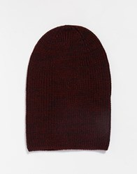 Asos Slouchy Beanie Hat In Burgundy Burgundy Red