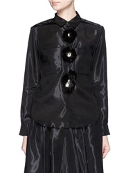 Toga Archives 'Monofila' Flower Applique Organdy Shirt Black