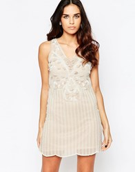 A Star Is Born Pleated Skater Dress With Embellished Detail Mocha