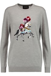 Markus Lupfer Natalie Sequin Embellished Merino Wool Sweater Gray