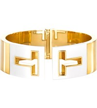 Tiffany And Co. T Cutout Hinged Cuff In 18K Gold With White Ceramic Medium