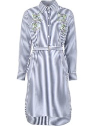 Adam By Adam Lippes Embroidered Long Sleeve Dress Blue