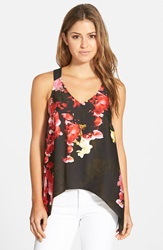 Adrianna Papell Print V Neck Racerback Tank Red Multi