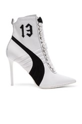 Fenty By Puma Leather High Heel Sneakers In White