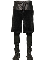 D By D Faux Fur And Leather Effect Canvas Shorts