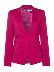 Sportmax Villa Tailored Wool Blazer With Zips Fuchsia