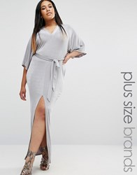 Missguided Plus Belted Kimono Sleeve Maxi Dress Grey