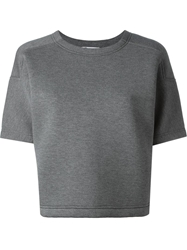T By Alexander Wang Boxy Cropped Sweatshirt Grey