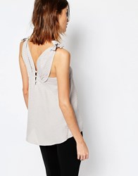 Warehouse Textured Button Back Cami Silver And Grey Multi