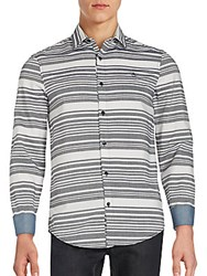 Penguin Long Sleeve Horizontal Stripe Shirt Dark Sapphire