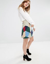 Traffic People A Line Mini Skirt In Check Green Red Multi