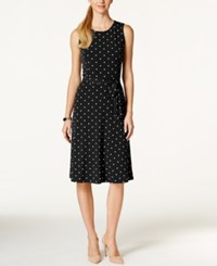 Charter Club Petite Dot Print Fit And Flare Dress Only At Macy's Deep Black Combo