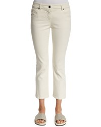 Brunello Cucinelli Flare Leg Cropped Jeans Natural Yellow