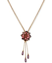 Betsey Johnson Rose Gold Tone Crystal Cluster Flower Pendant Necklace