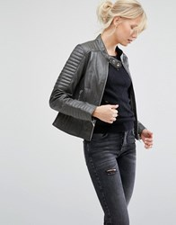 Barney's Originals Asymmetric Leather Biker Jacket With Quilted Shoulder Detail Grey