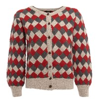 Lowie Oatmeal Charcoal And Red Virgin Wool Patchwork Cardigan