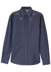 Givenchy Blue Star Embroidered Denim Shirt