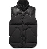 Rocky Mountain Featherbed Christy Leather And Shearling Trimmed Shell Down Gilet Black