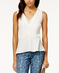Maison Jules Sheer Inset Peplum Top Only At Macy's