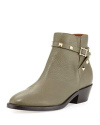 Valentino Rockstud Leather Buckle Bootie Army Green Black