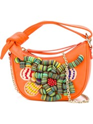 Borbonese Embellished Crossbody Bag Yellow And Orange