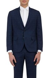Brooklyn Tailors Men's Plaid Two Button Sportcoat Blue