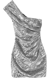 Saint Laurent One Shoulder Sequined Wool Crepe Mini Dress Silver