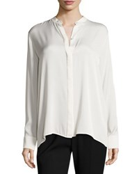 Vince Flyaway Back Stretch Silk Blouse Chalk