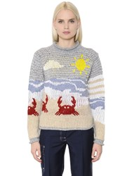 Thom Browne Beach Jacquard Wool And Cotton Sweater