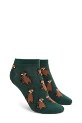 Forever 21 Raccoon Print Ankle Socks Green Multi