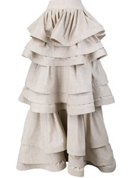 Rosie Assoulin Three Layer Ruffle Skirt Nude And Neutrals